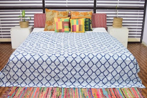 Kantha Quilts, Handmade Quilted Printed Quilt , Geometric Designs Twin/Queen Size