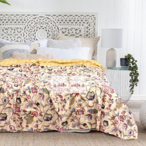Handmade Floral Decorative Kantha Bedcover, Kantha Bedspread, Kantha Throw, Kantha Blanket