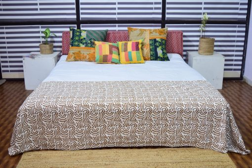 Kantha Quilts, Handmade Quilted Printed Quilt , Geometric Designs Twin/Queen Size Quilt