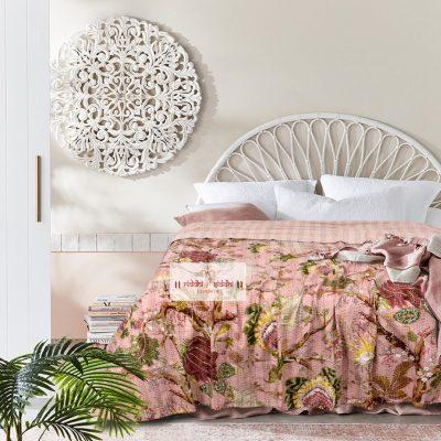 Traditional Patchwork Cotton Kantha Quilt, Kantha Throw & Blanket, Reversible Bedspread