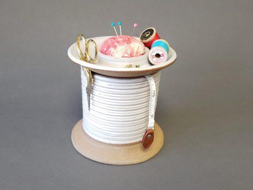 Sewing Station Caddy & Pincushion Bobbin Storage Scissor Holder Craft Room Organizer Quilting Basket Button Jar Pink Yellow Tie Die