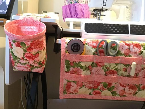 Granny's Rose Garden Print Quilted Sewing Machine Mat Organizer With Matching Thread Catcher & Pin Cushion Plus Optional Cup Cozy