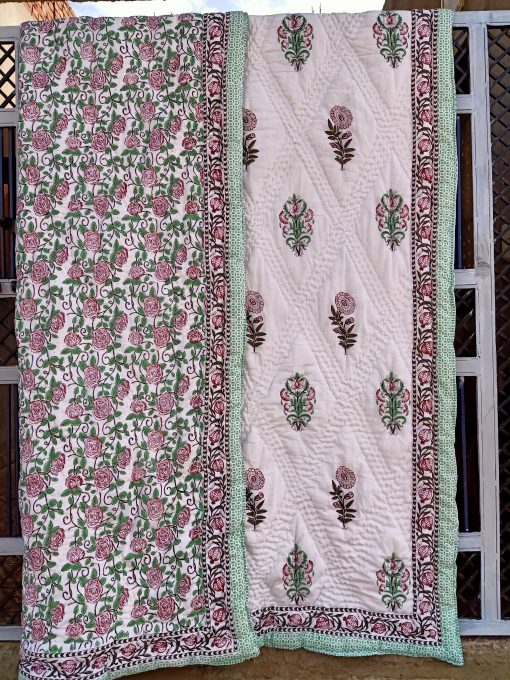 100% Organic Cotton Filling Jaipuri Rajai A Traditional Art Of Hand Block Print & Quilted Quilt in Queen Size