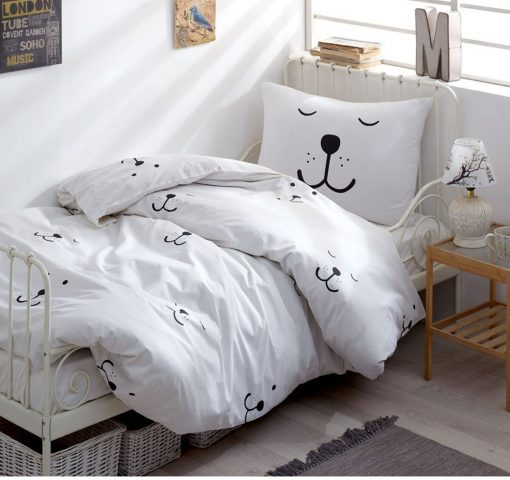 Pure Organic Cotton Eco Friendly Dyeing, Twin - Queen Smiley Face Duvet Cover Set/Kids White Bear Bedding Boys Quilt