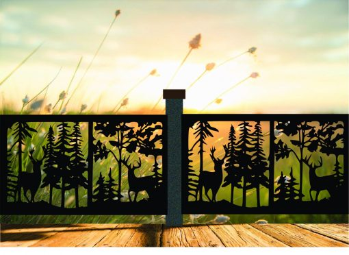 Decorative Rustic Railings, Wildlife Scenery With Two Bucks in Forest, Metal Panel Insert, Staircase Balcony Panels, Insert