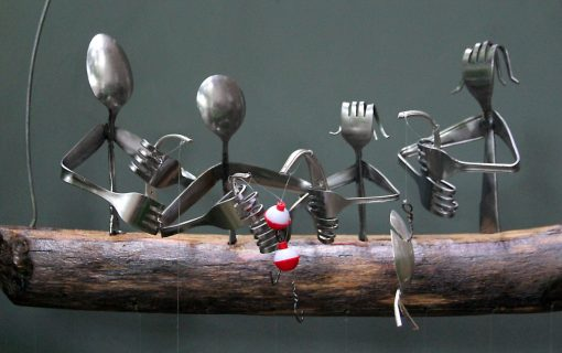 Family Fishing Flatware Wind Chime, Customized To Represent Each Member, Great Housewarming Gift Idea For The Of Anglers