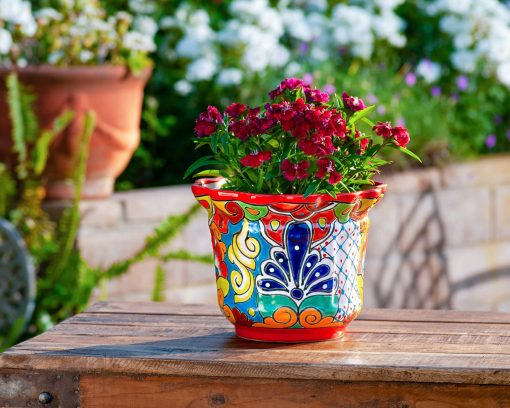 Mexican Talavera Pottery Plant Pot Flower Heavy Weight Ceramic Succulent Vegetable Cacti Planter Home Decor Scalloped Medium Red