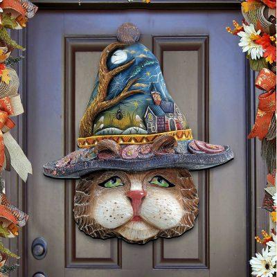 Outdoor Halloween Decor Fall Front Door Wreath Cat Mask Wooden Door Hanger Wall Decor 8161039H