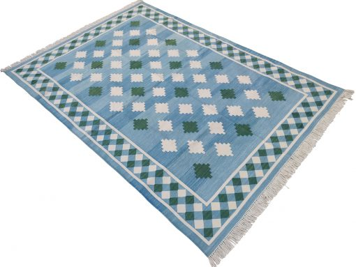Cotton Rug Home Décor Living Room Flat Weave 5'x7' Handwoven Natural Vegetable Dyed Blue & White Striped Area Yoga Rags Dhurrie