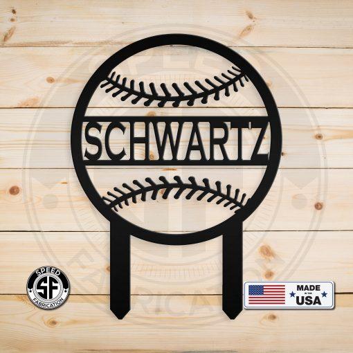 Personalized Family Name Baseball Yard Stake Metal Sign