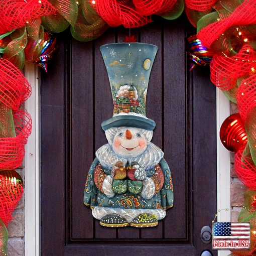 Holiday Decoration - Outdoor Christmas Decorations Decor Snowman Wooden Door Hanger 8116420H
