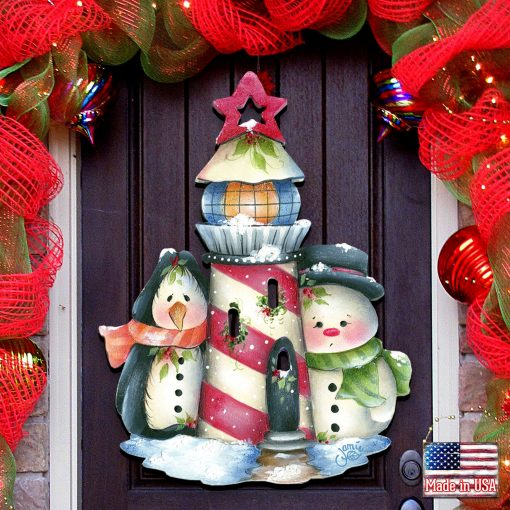 """Holiday Decoration - Outdoor Christmas Decorations Decor """"Keepers Of The Light"""" Door Hanger By Jamie Mills Price #8457508H"""