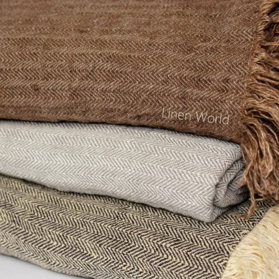 100% Linen Throw Blanket | Herringbone Flax Bed Cover - Coverlet Plaid Beach Rug Picnic Soft Stonewashed Raw Linens