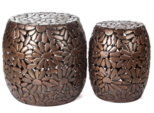 H Potter Set Of 2 Side Tables Antique Copper Finish Indoor Round End Table Living Room, Kitchen, Small Spaces