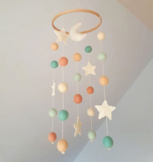 Moon Baby Mobile Stars Nursery Decor Girl Boy Crib Mobiles Hanging Pastel Space Mint Coral Felt Ball Cot Neutral Newborn Gift