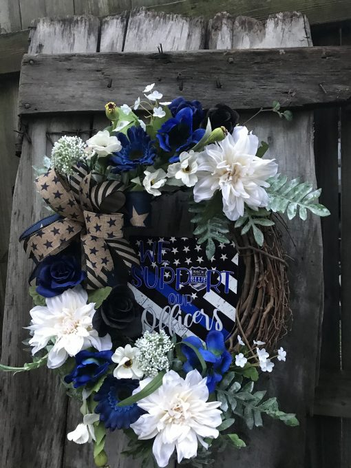 """Beautiful Farmhouse """"Back The Blue"""" Grapevine Wreath For Door, Wreaths, Wreaths Front Door, Navy Red, White & Blue"""