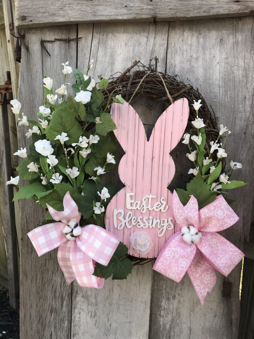 Pink Bunny For Easter With White Accents Grapevine Wreath Door. Wreaths, Wreaths Front Door, Farmhouse, Christmas