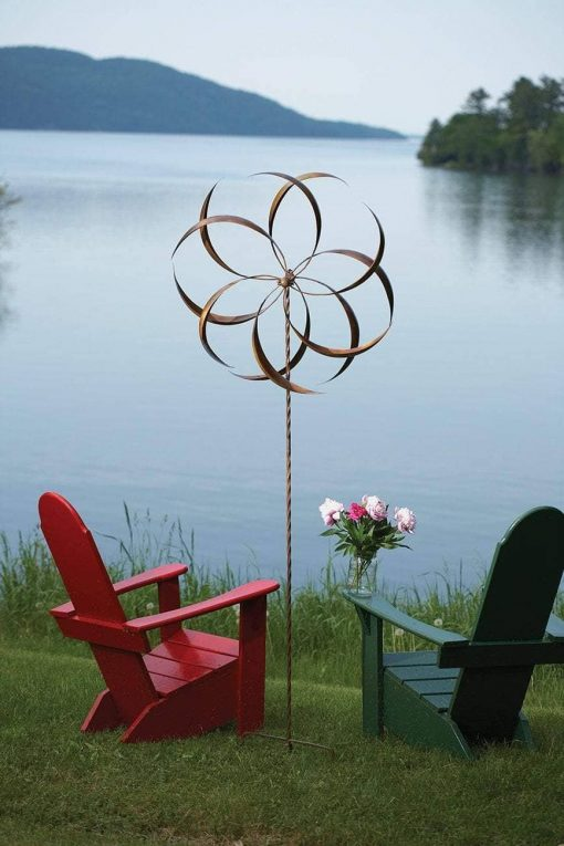 """Feather Staked Wind Spinner 32"""" - Happy Gardens"""