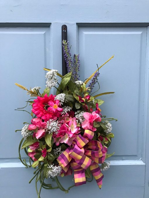 Yellow & Lavender Pink Spring Floral Filled Metal Shovel For Front Door, Mother's Day Gift, Wreaths Farmhouse