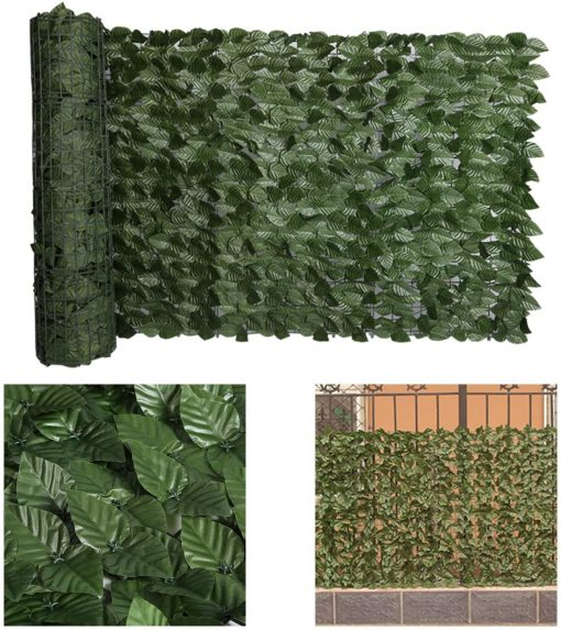 98x39 Inch Artificial Faux Ivy Hedge Privacy Fence Wall Screen, Leaf & Vine Decoration For Outdoor Decor, Garden, Yard