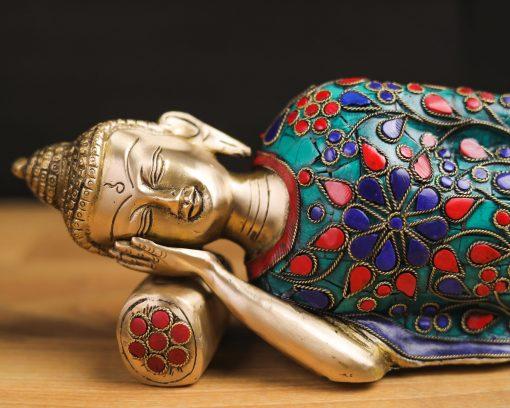 Buddha Idol Nirvana Sleeping Gemstones Studded Statue Sacred Altar Space Décor Buddhism Gift Yoga Meditation Space Decoration