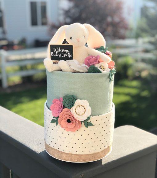 Tiny Dancer Garden With Flowers & Succulents Diaper Cake Baby Shower Birthday Gender Reveal Gift/Centerpiece