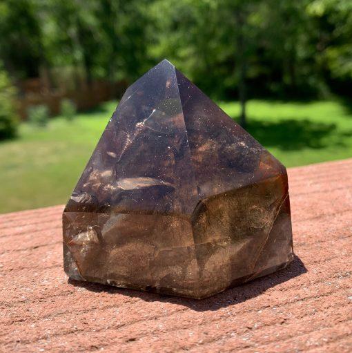 Lodolite Smoky Quartz Crystal Point - Inclusion Quartz Garden Rutilated Polished Tower Meditation Stone Collectible 277G