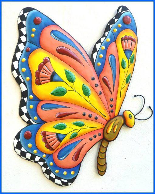 Metal Wall Art - Hanging Butterfly Art, Painted Outdoor Garden Decor, Butterflies, J-905-Gl