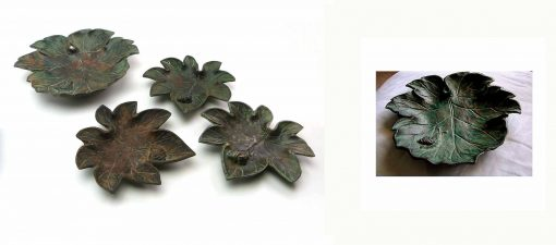 Set Of Five Toyo Heavy Cast Verdigris Metal Leaf Dishes Bowls With Foraging Snail Mid Century Vintage 1960S Hand Made in Japan Garden Decor