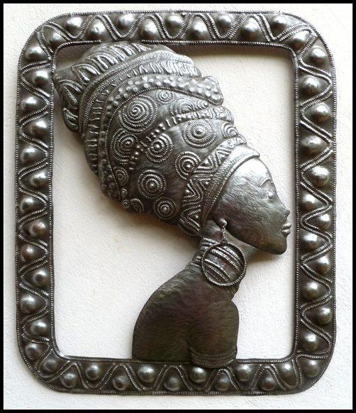 "African Woman Art, Metal Wall Hanging, Haitian Art, Outdoor Ethnic African 20"" X 24"" - W101"