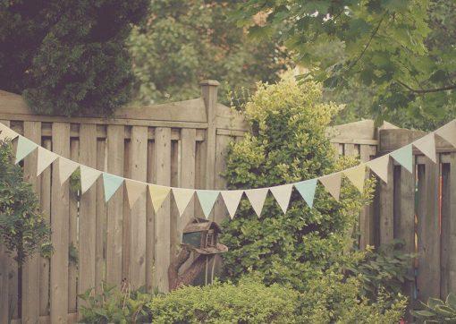 Earthy Pastel Fabric Garland Bunting Banners For Whimsical Rustic Circus Weddings, Gender Neutral Baby Showers, Garden Birthday Parties