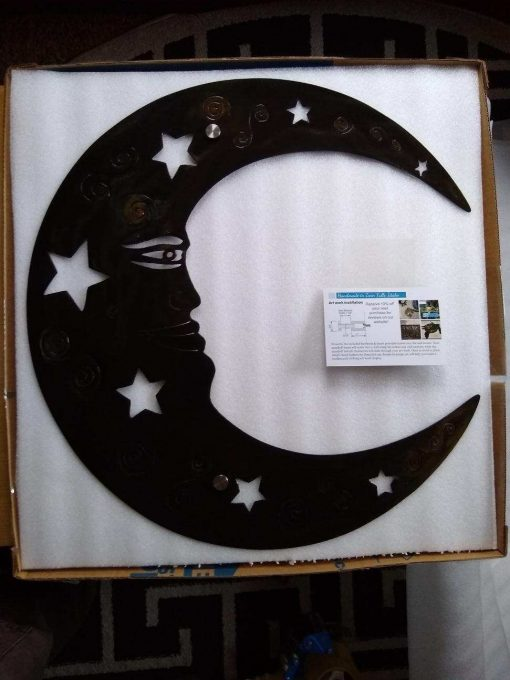 Large Moon & Stars Metal Wall Decor Etsy Handmade Moon Hanging Outdoor Garden Office Art Mothers Day Gift