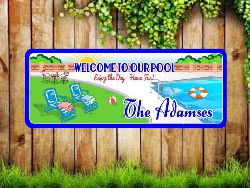 Custom Swimming Pool Welcome Sign With Pool, Loungers, Bech Ball, Life Preserver & Sun, Backyard