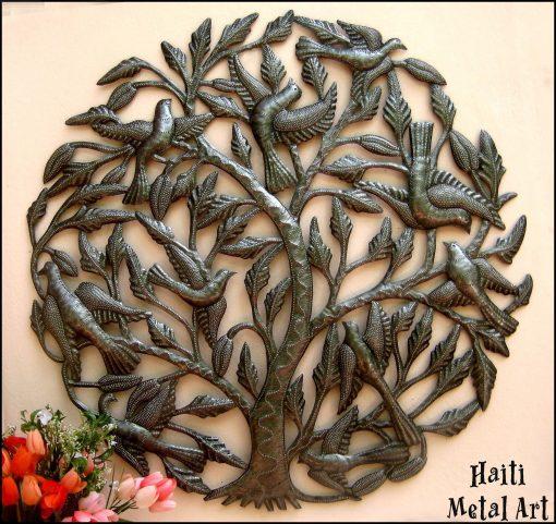 Tree - Birds Metal Wall Art, Haitian Recycled Steel Drum Outdoor Art Hanging, 404