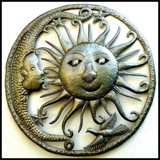 "Outdoor Metal Art, Sun & Moon, Metal Wall Hanging, Art, Art Of Haiti, Haitian Steel Drum, Decor - 30"" 9004-30"
