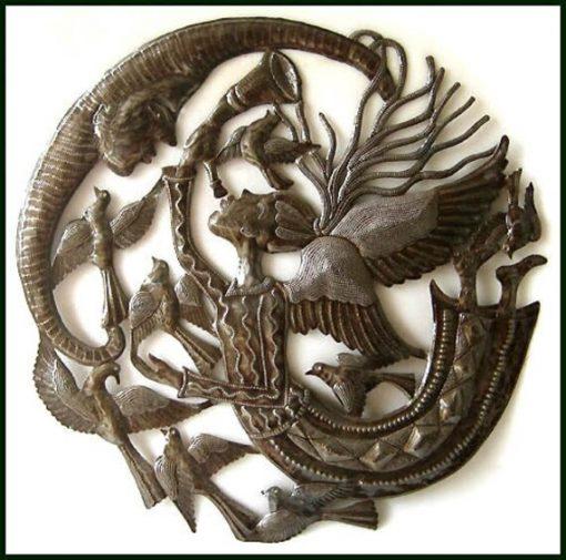 "Angel Metal Art Wall Hanging, Haitian Art, Recycled Steel Drum Decor, Design - 24"" 446-24"