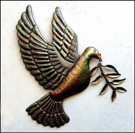 "Metal Peace Dove with Olive Branch, Metal Art, Wall Iridescent Finish, 18"", Decor, Haitian Garden 303-17-Ir"