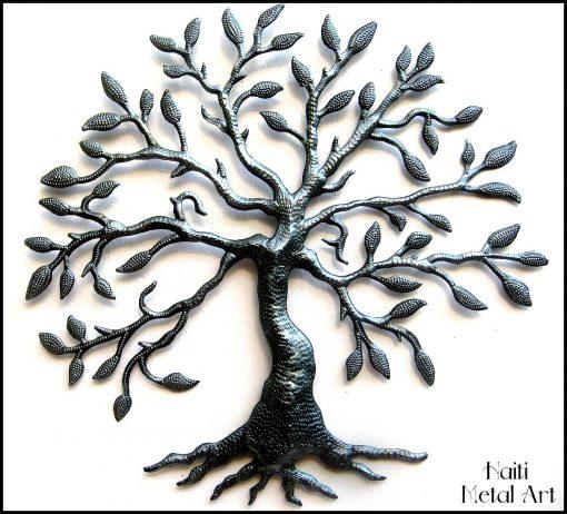Metal Tree, Haitian Metal Art, Tree Of Life, Decor, Wall Hanging, Steel Drum T-357