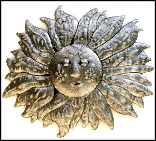 Metal Sun, Wall Hanging, Outdoor Metal Art, Garden Haitian Steel Drum Decor, H-151