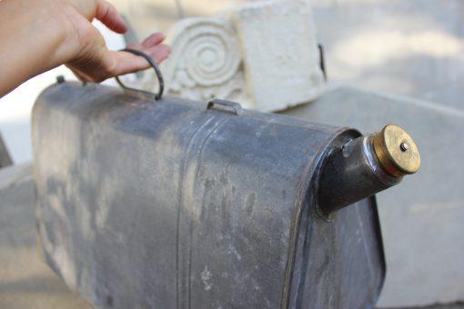 Vintage Rare Galvanized Zinc Can, 20 L Triangular Metal Watering Can, Farmhouse Decor, Rustic Garden Décor