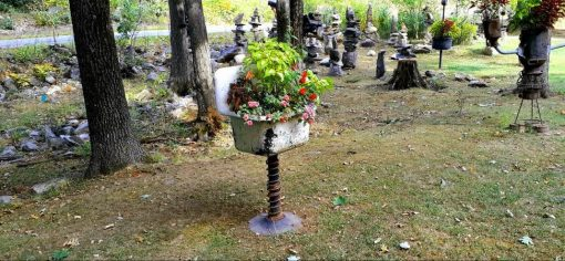 Unique Custom Fabricated Upcycled Salvaged Cast Iron Pedestal Sink Planter Ooak Garden Decor Made in The Usa