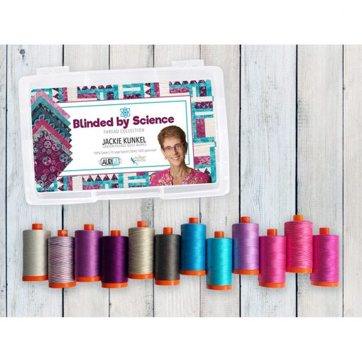 Aurifil Blinded By Science Collection Jackie Kunkel Mako Cotton 50 Weight Wt Large Spool Purple Blue Pink Quilting Thread Set Of 12