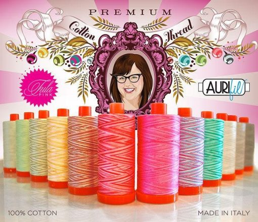 Aurifil Tula Pink Premium Collection Mako Cotton 50 Weight Wt Large Spool Yellow Blue Gray Variegated Quilting Thread Set Of 12