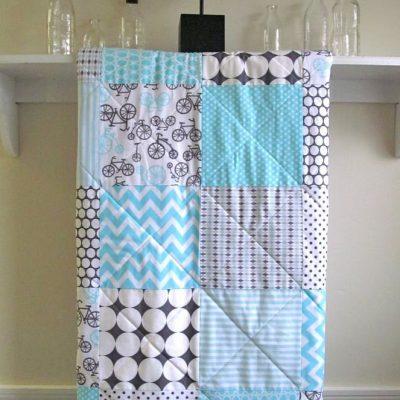 Baby Quilt Bicycles Blue Handmade, Minky Back Quilt, Gray, White, Aqua, Blue, Nursery Crib Bedding, Gender Neutral