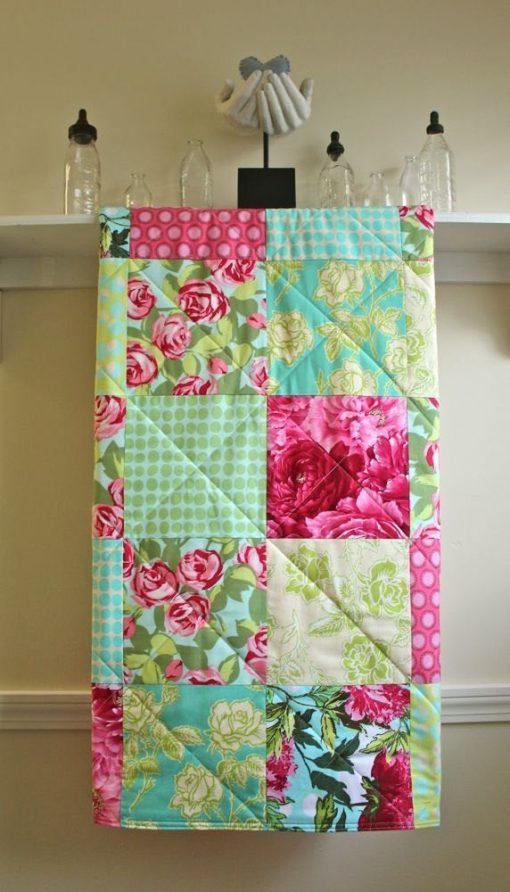 Baby Quilt Girl Floral, Modern, Minky Back, Shower Gift, Pink, Turquoise, Green, Handmade, Bedding, Nursery Bedding - Red Roses