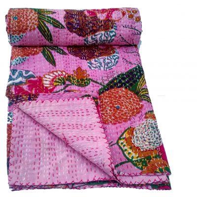 Baby Quilt Twin Bedcover, Bedspread, Kantha Gudri, Handmade Kantha Ethnic Decorative Gudri Floral Print Queen Size Quilt, Throw, Blanket