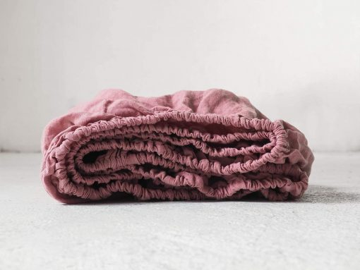 Blush Pink Cotton Sheet/Bedding Set Pure Organic Fitted Sheet With 2 Matching Pillow Cases