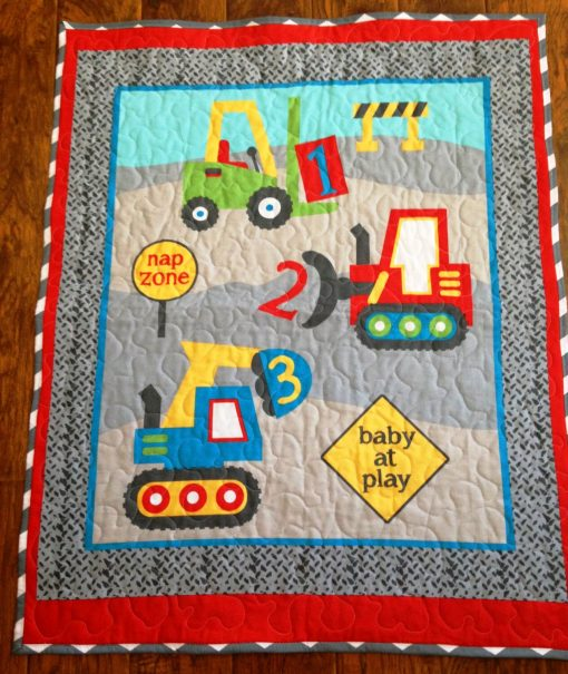 """Boys Construction Counting 123 Nap Zone Baby At Play 36""""x44"""" Stippling Quilted Nursery Toddler Napping Stroller Blanket Ready To Ship"""