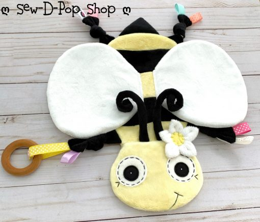 Bumblebee Baby Blanket Lovey Organic Ring Clip Toy Snuggle Friend