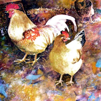 """Chicken Coop, Roosters Art """"Three's A Crowd"""" Prints Signed & Numbered"""